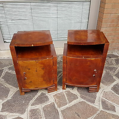 Original Italian Walnut  Art Deco Bedside Cabinets  From 1930-40