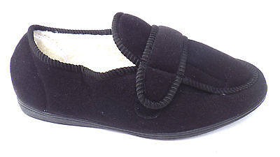 MENS BLACK WIDE FIT HOSPITAL COMFY HARD SOLE SLIPPERS SHOES size 6 7 8 9 SALE