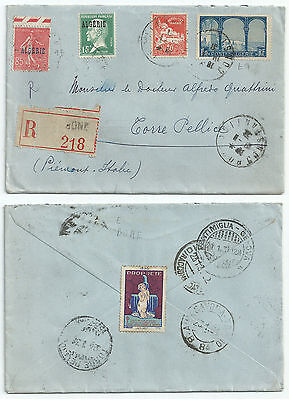 Algeria 1931 Registered Cover Mixed Franking From Bone To Torre Pellice Italy