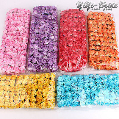 144pcs Mulberry Paper Rose Flowers With Wire Stems For Card Making Craft Favours