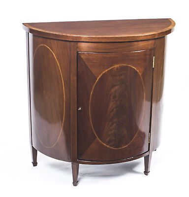 Antique Half Moon Sheraton Mahogany Inlaid Commode c.1900