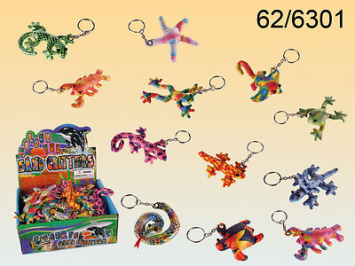 Shinny Patterned Sand Filled Animals Keyrings - Various Designs