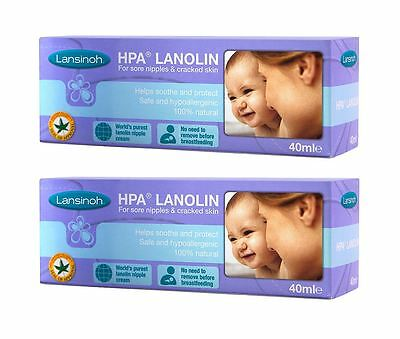 2 tubes of Lansinoh HPA Lanolin 40ml | Safest, Purest Nipple Cream