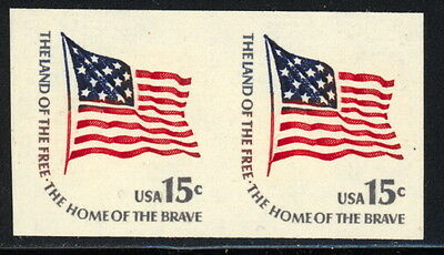 US 1618Cd imperf pair w/1 block tagging over stps, 15 cents Land of the Free EFO