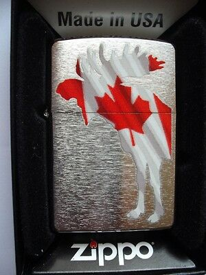 Canadian Moose With Canada Flag Maple Leaf Zippo Lighter New Gift Box Hunter