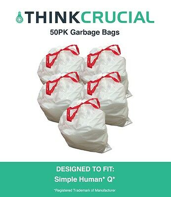 50 Replacements Simple Human Q, 50-65L / 13-17 Gallon Durable Garbage Bags