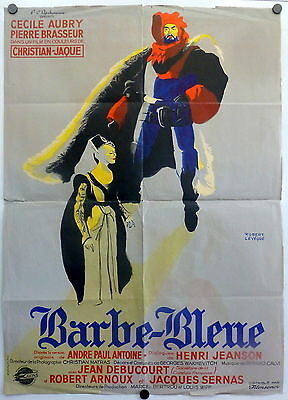 ~ Bluebeard Barbe-Bleue ORIGINAL 1950s French Movie Poster Cecile Aubry France