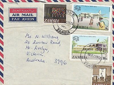 Stamps Zambia various issues on airmail cover sent 1974 KABWE to Australia
