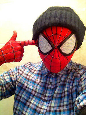 Stunning Amazing Spider-Man 2 Mask 3D Digital Printing Red Hood Spiderman Props