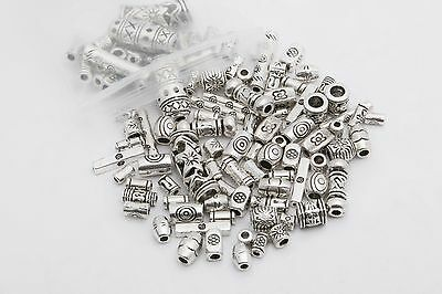 DIY Lots Mixed 100pcs Tibetan Silver Long Tube Spacer Beads Jewelry Findings DIY