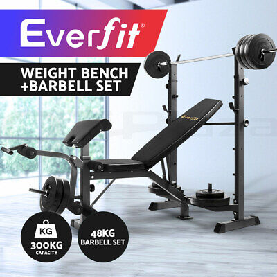 Everfit Multi-Station Weight Bench Press Fitness 48KG Barbell Set Incline Black