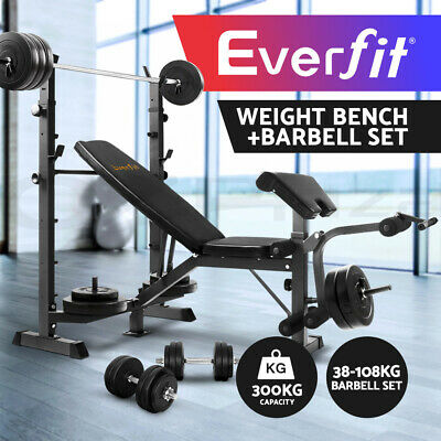 Everfit Multi-Station Weight Bench 38-88KG Barbell Set Weight Plates Fitness Gym