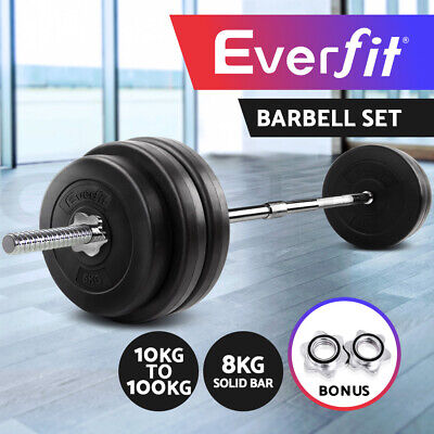 【20%OFF】10-100KG Barbell Set Weight Plates Gym Press Fitness Exercise Training