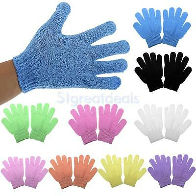 1 Pair Shower Bath Gloves Exfoliating Wash Skin Spa Massage Scrub Body Scrubber
