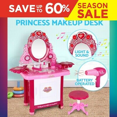 30 Piece Kids Dressing Table Pretend Play Toy Set Girls Make Up Vanity Desk Pink