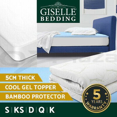 Giselle Bedding COOL GEL Memory Foam Mattress Topper BAMBOO Cover 8CM Protector