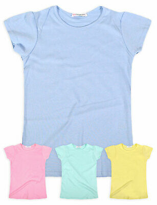 Girls Pastel 100% Cotton T-Shirt New Kids Plain Short Sleeved Tops Ages 2-13 Yrs