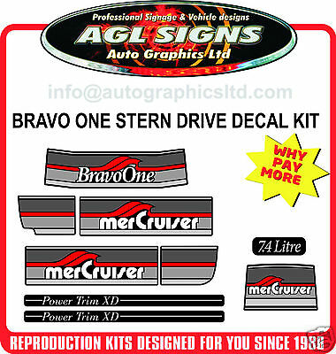1986 - 1998 Mercury Bravo One Outdrive Decal Kit   Mercruiser