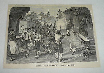 1879 magazine engraving ~ EASTER EGGS IN ALSACE