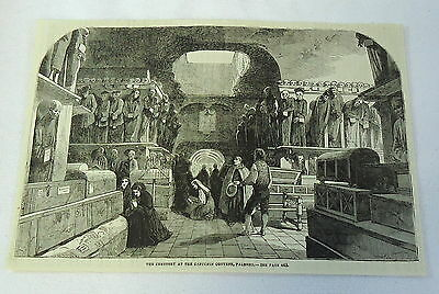 1882 magazine engraving ~ Cemetery At The Capuchin Covent, Palermo