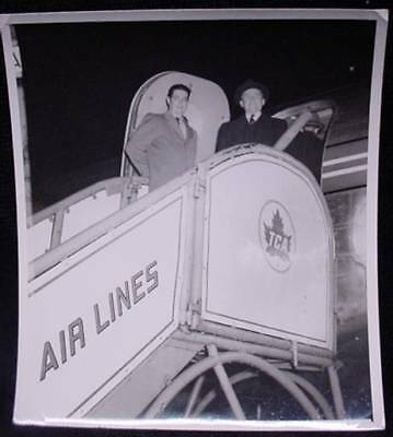 2 Vintage Photos Men Boarding a TCA Plane Trans Canada Airlines Airplane