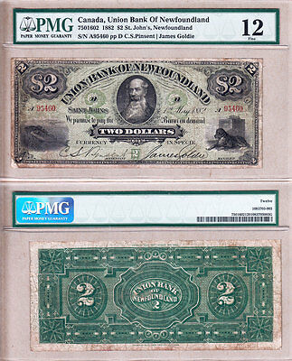1882 $2 Union Bank of Newfoundland Redeemable Issued note. PMG F12