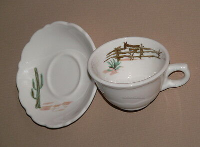 Cowboy Cup & Saucer Syracuse Sundown China USA Scalloped Edge Dude Ranch Western