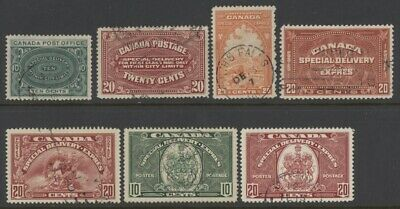 Canada E1 to E3 & E5 to E8 used w/variety of postmarks - special delivery stamps