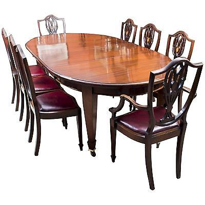 Antique 8ft Edwardian Dining Table 8 Chairs c.1900