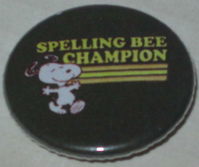 "Snoopy ""Spelling Bee Champion"" Pin 1.25"""