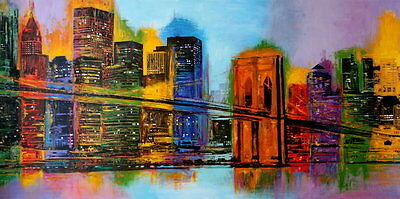 NEW YORK CITY ART PRINT - Hello NYC by Brian Carter Modern Manhattan 19.5x39.5