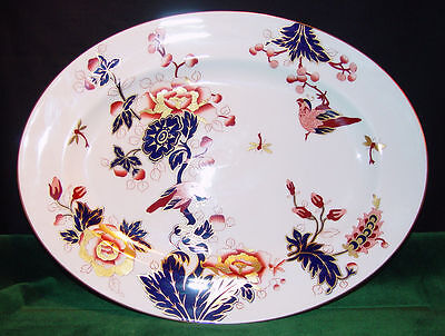 "Coalport Fine Bone China Hong Kong - Mauve Flowers- 15 1/2"" Oval Serving Platter"