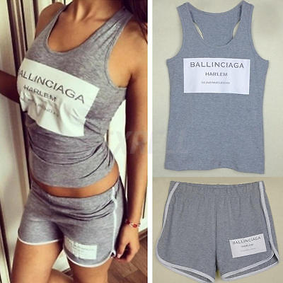 New Women Ladies Letter Print Tops+Shorts Tracksuits Sleeveless Vest Sports Suit