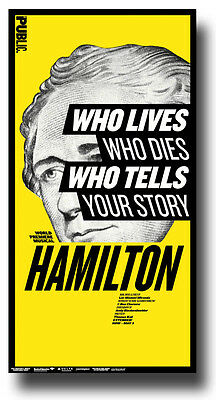 Hamilton Poster Broadway Musical 9.5 x 17  ---  Ships SAME day from USA Y