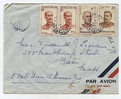 Old 1950 Madagascar Postal Airmal Cover to Boston USA Stamps