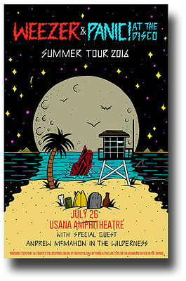 Panic at The Disco Poster w/ Weezer - Concert Promo Brendon Urie 2016 Tour