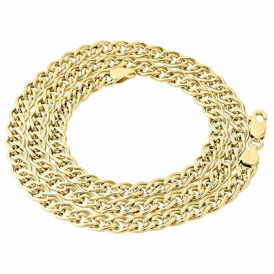 10K Yellow Gold 6MM Double Cuban Curb Italian Link Chain Necklace 20 - 30 Inch