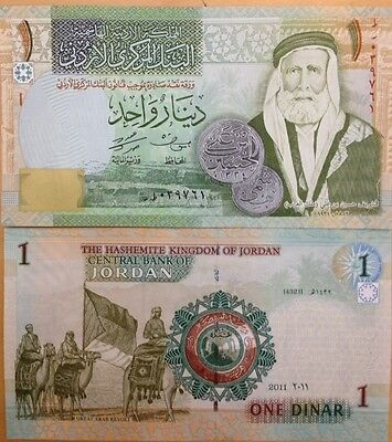 Jordan 2011 1 Dinar Uncirculated Banknote P-34 King Of Hejaz Camels Usa Seller !