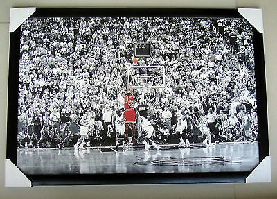 "Michael Jordan FRAMED Poster ""LAST SHOT"" NBA CHICAGO BULLS Black timber & glass"