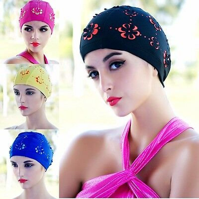 New Womens Retro Summer Swimming Cap Flower Floral Hollow Bathing Hat