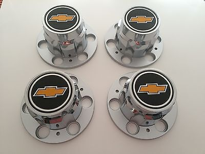 Set 4 68-72 Chevy 6 Lug Truck Rally Wheel Center Caps With 3 7/16 Wide Emblems