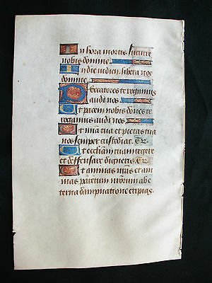 1460 Manuscript on Vellum with many Miniated Initials, Medieval Book of Hours...