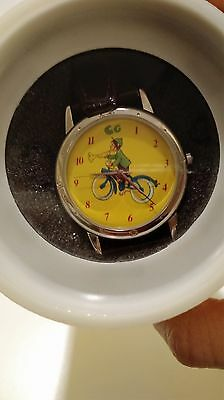 CURIOUS GEORGE on BIKE ADULT WATCH by ONE IN A MILLION TIMEPIECES NEW NEEDS BAT