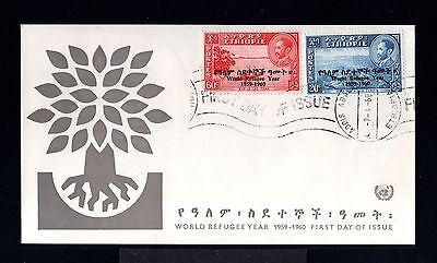 10389-ETHIOPIA-FIRST DAY COVER ADDIS ABABA.1960.WORLD REFUGEE YEAR SET.Ethiopie.