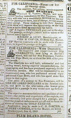 1849 Newburyport MA newspaper w Ship ads TRANSPORTATION to CALIFORNIA GOLD RUSH