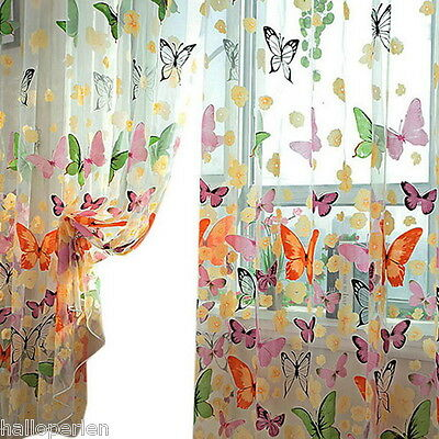 1PC Butterfly Flower Print Sheer Curtain Customise Window Home DIY Children
