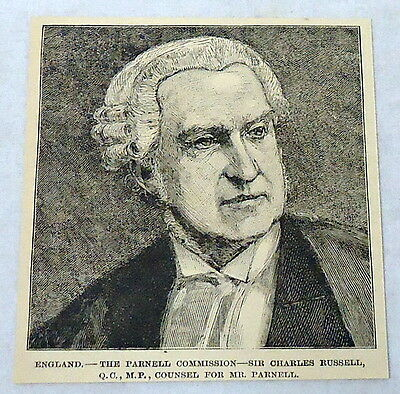 1889 magazine engraving ~ ENGLAND--PARNELL COMMISSION--SIR CHARLES RUSSELL QC MP