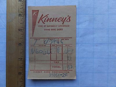1966 Kinney's Shoes Receipt