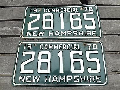 1 Pr Expired 1970 New Hampshire License Plate Commercial 28165 Free Ship