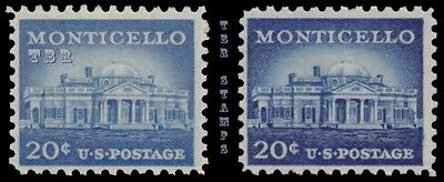1047 1047a Monticello 20c Liberty Issue Color Variety Set of 2 MNH - Buy Now